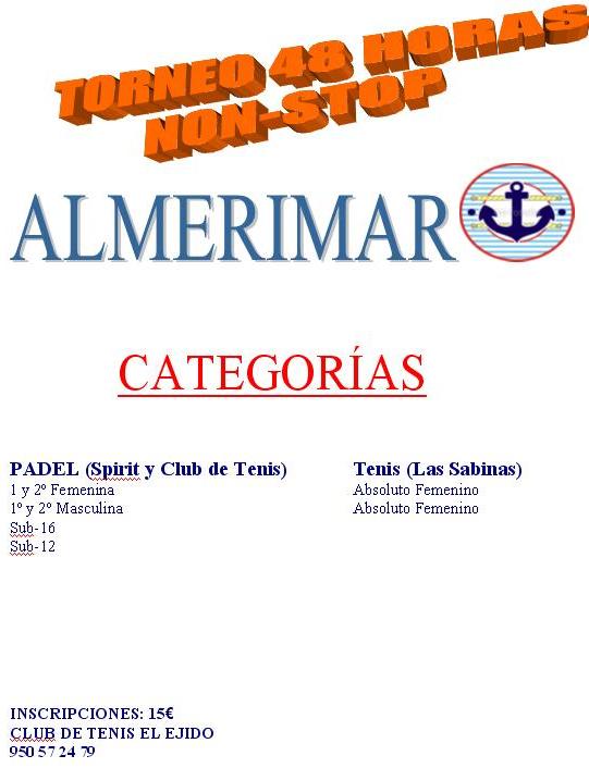 torneo nonstop en Almerimar padel y tenis